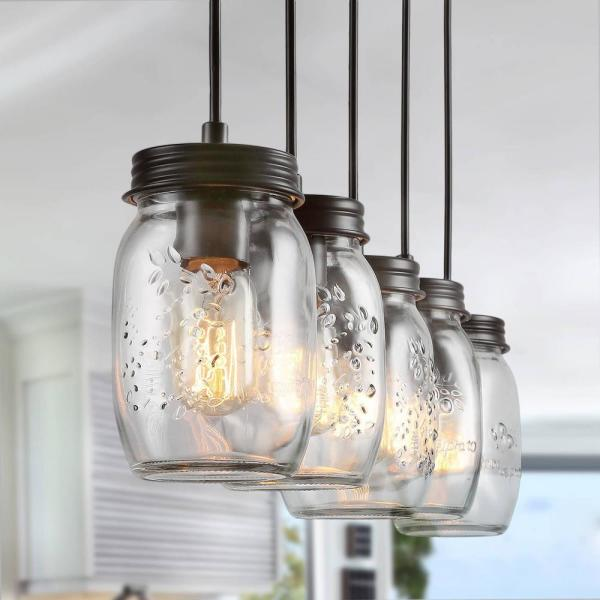 Zook 5-Light Chandelier Modern Farmhouse Light Dark Oil-Rubbed Bronze DIY Wood Chandelier Mason Jar Pendant Light