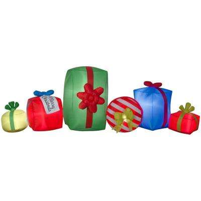 Holiday 8.99 ft. W pre-liter Inflatable Present Collection Scene