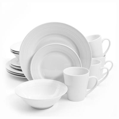 16-Piece Embossed Buffet White Dinnerware Set (Service for 4)