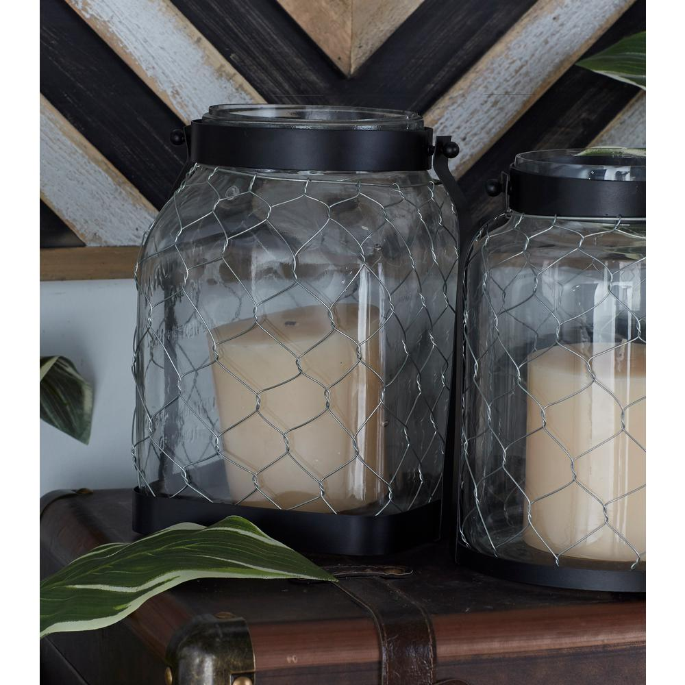 10 in. Black Chain-Wrapped Candle Lantern