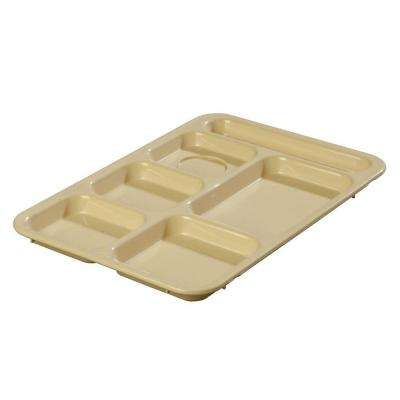 14.37x10 in. ABS Plastic Right Hand 6-Compartment Tray in Tan (Case of 24)