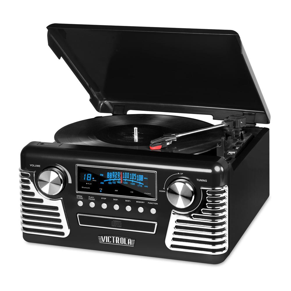 Retro Style Turntable with Bluetooth and CD Player in Black Bring the 1950's in to your space with this great little music system with the big sound. Retro and modern at the same time so it fits great in to any decor. But don't let its fun retro design fool you, it's loaded with all the music playing technology of the past 70 years.