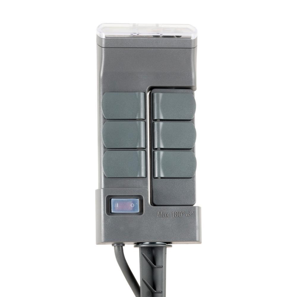 Rotatable Outdoor Digital Yard Stake Timer, Plug-in, Weather Resistant, for Seasonal Lighting, Gray
