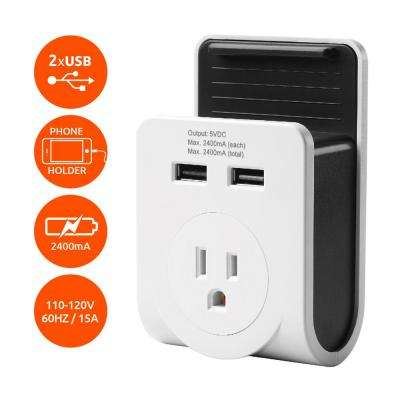 Dual USB Port Power Adaptor with Smartphone Cradle