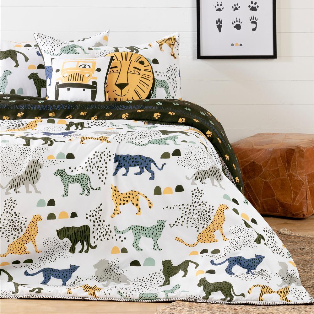 DreamIt 5-Piece Safari Wild Cats White and Green Full Bedding Set