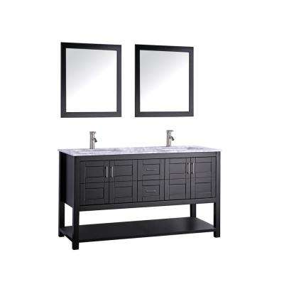 Norway 72 in. H x 22 in. D x 36 in. H Vanity in Espresso with Marble Vanity Top in White with White Basins and Mirrors