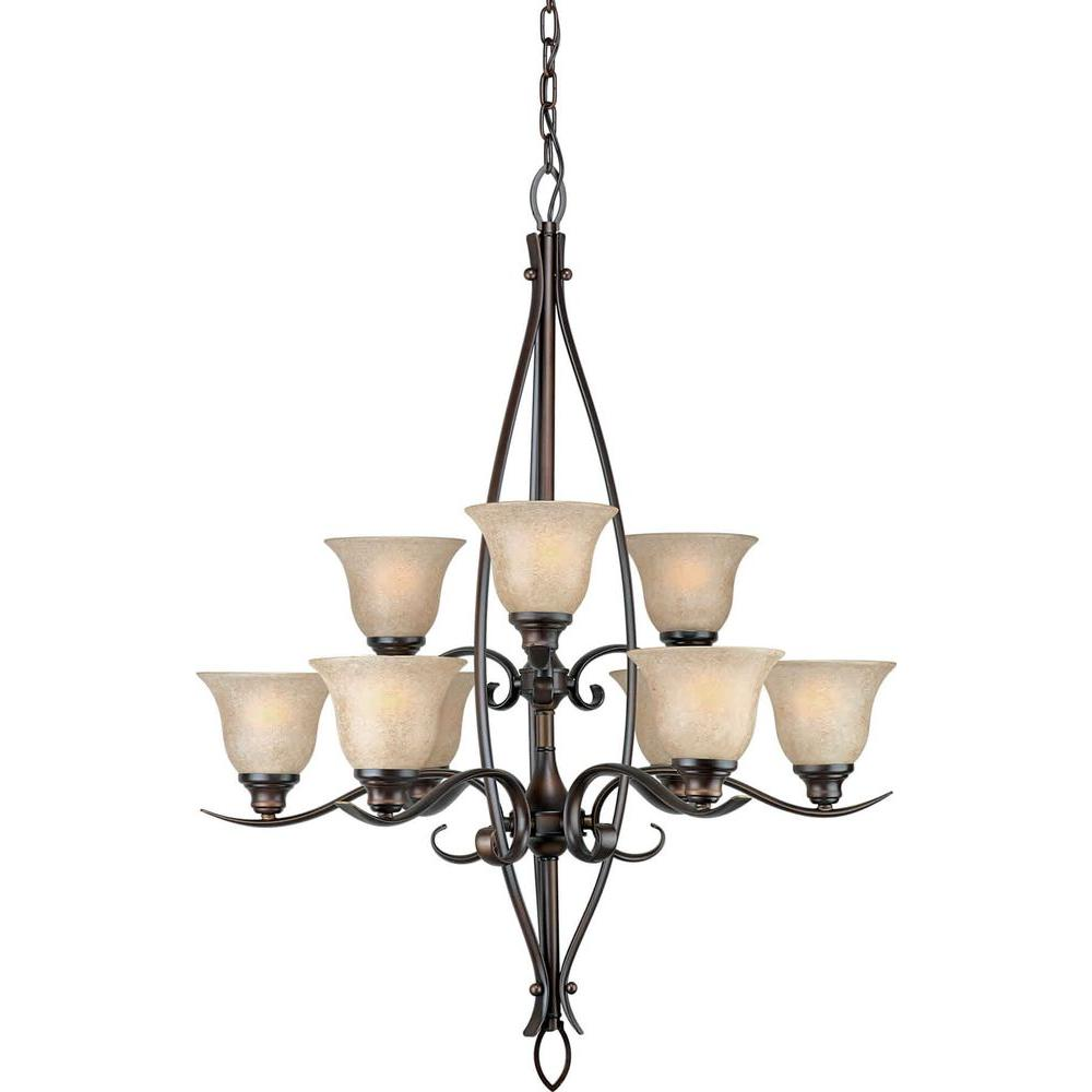 Talista 9-Light Antique Bronze Chandelier with Mica Flake Glass