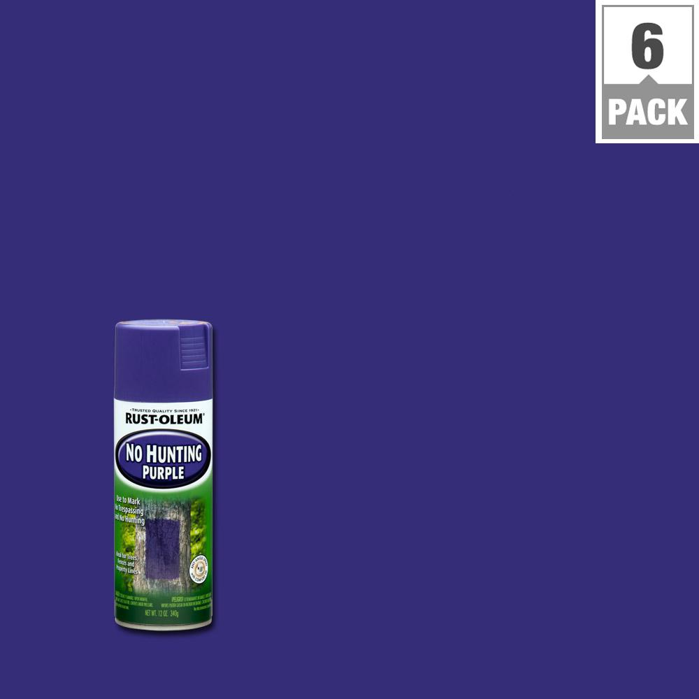 No Hunting Purple Spray Paint 6 Pack