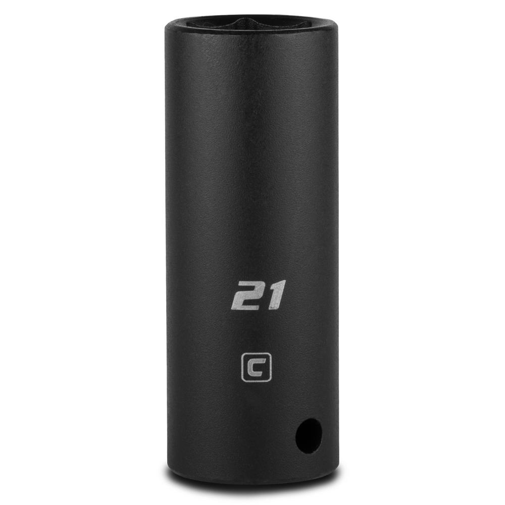 1/2 in. Drive 21 mm 6-Point Metric Deep Impact Socket