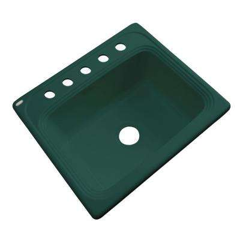 Wellington Drop-in Acrylic 25x22x9 in. 5-Hole Single Bowl Kitchen Sink in Rain Forest