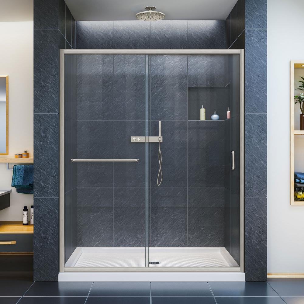 DreamLine Infinity-Z 36 in. x 60 in. x 74.75 in. Framed Sliding Shower Door in Brushed Nickel with Center Drain White Acrylic Base