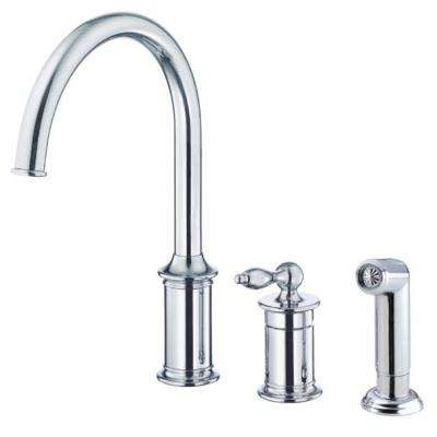Prince Single Handle Standard Kitchen Faucet With Spray In Chrome