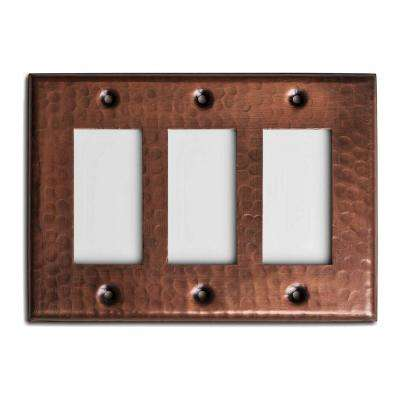 Pure Hand Hammered Triple Rocker Wall Plate, Copper