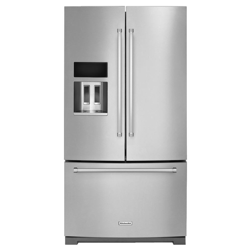 Kitchenaid 36 in w 26 8 cu ft french door refrigerator for 8ft french doors