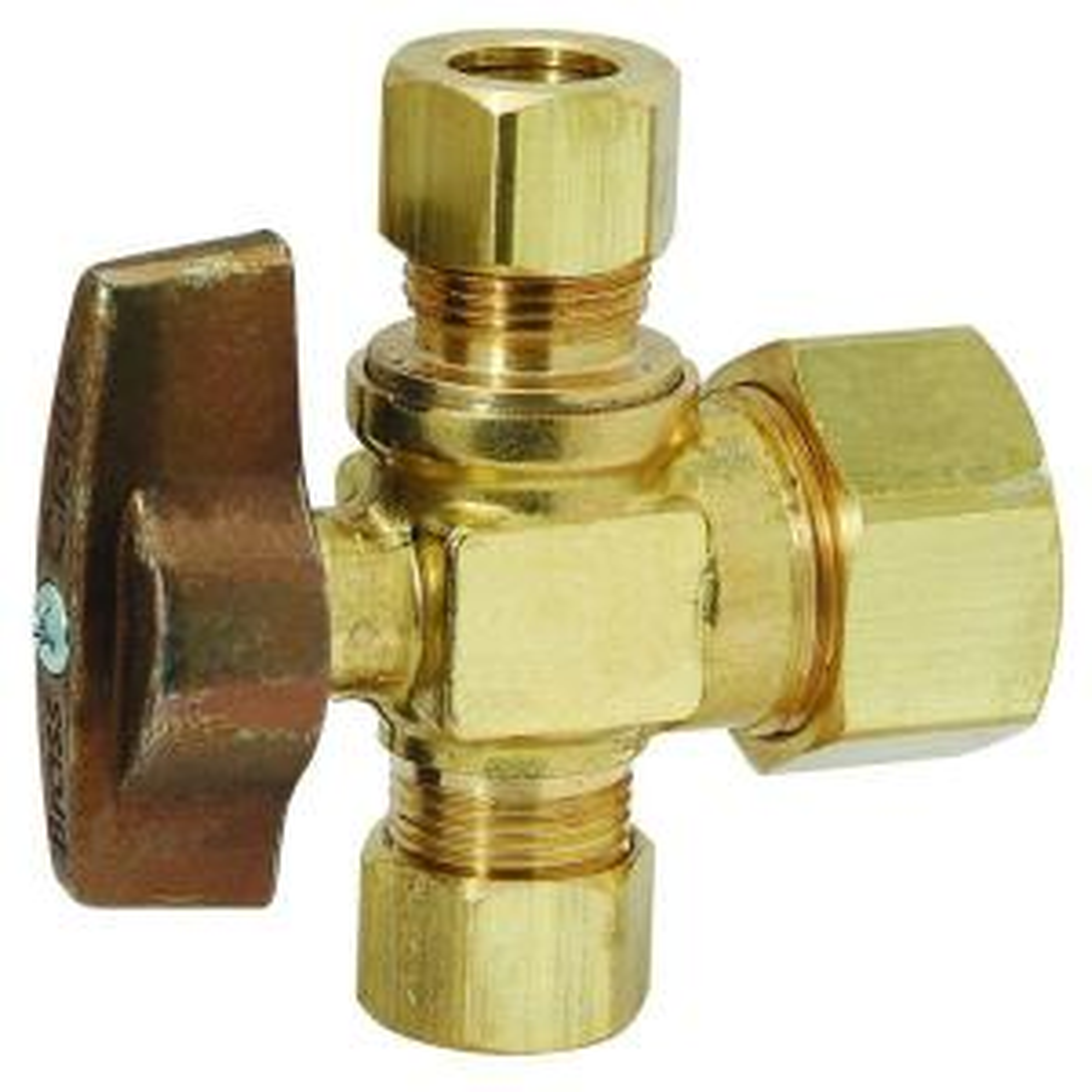 Brasscraft 1/2 inch Nominal Compression Inlet x 3/8 inch O.D. Compression x 3/8 inch O.D. Compression Dual Outlet... by BrassCraft