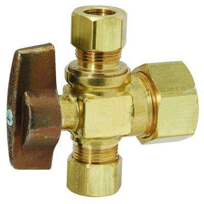 1/2 in. Nominal Compression Inlet x 3/8 in. O.D. Compression x 3/8 in. O.D. Compression Dual Outlet 1/4-Turn Ball Valve