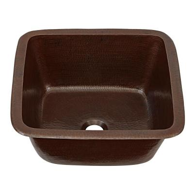 Greco Dual Mount Copper 15 in. Single Bowl Bar/Prep Kitchen Sink in Aged Copper