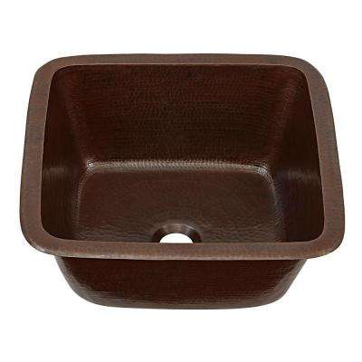 Greco Drop-In or Undermount Dual Mount Copper 15 in. Handmade Solid Perp/Bar Sink in Aged Finish