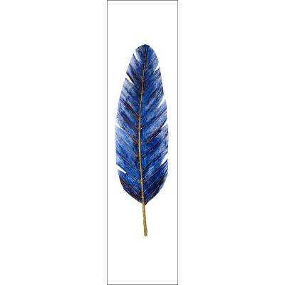 "15 in. x 60 in. ""Cobalt Leaf"" by Mat Printed and Painted Canvas Wall Art"