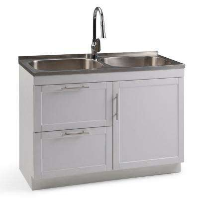 Seiger 46 in. W x 20 in. D x 35 in. H Laundry Cabinet with Pull-Out Faucet and Dual Stainless Steel Laundry/Utility Sink