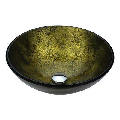 Posh Series Deco-Glass Vessel Sink in Verdure Gold