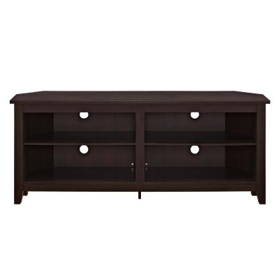 58 in. Espresso MDF Corner TV Stand 60 in. with Adjustable Shelves