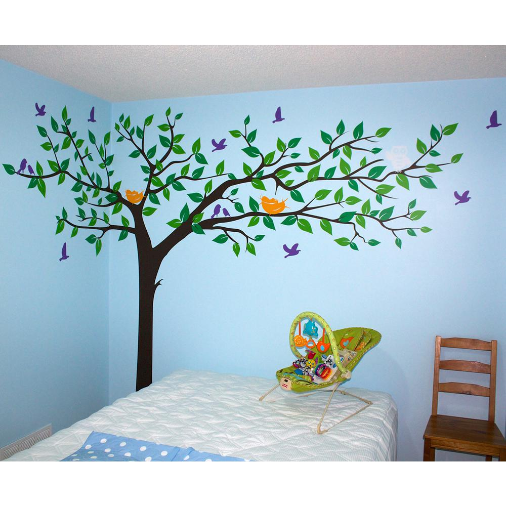 133 in x 90 in colorful super big tree removable wall decal
