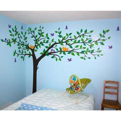 133 in. x 90 in. Colorful Super Big Tree Removable Wall Decal