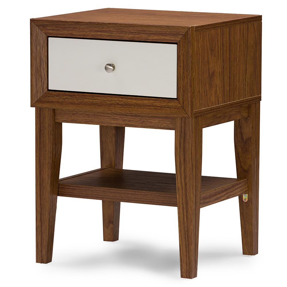 Baxton Studio Warwick 1-Drawer White and Medium Brown Wood Nightstand