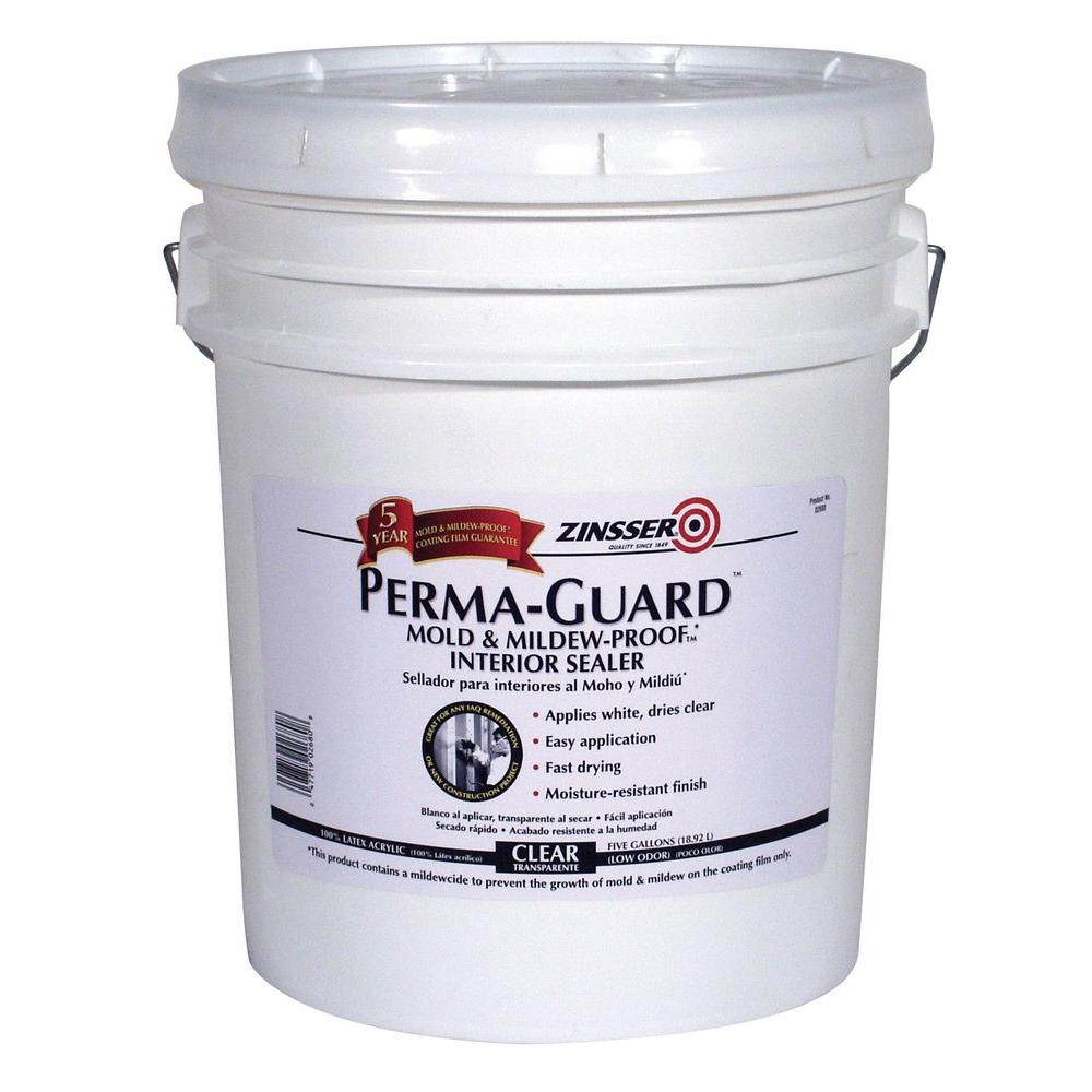 Zinsser Perma Guard 5 Gal Clear Acrylic Mold Mildew Proof Interior Sealer 2680 The Home Depot