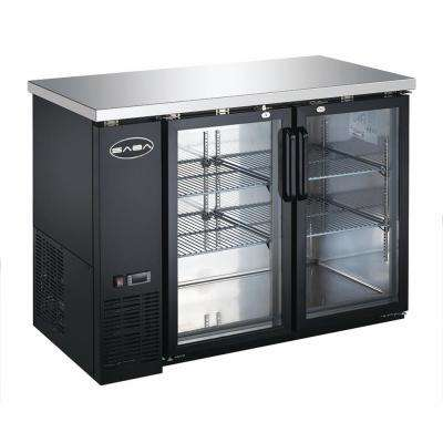 48 in. W 11.8 cu. ft. Commercial Under Back Bar Cooler Refrigerator with Glass Doors in Stainless Steel with Black