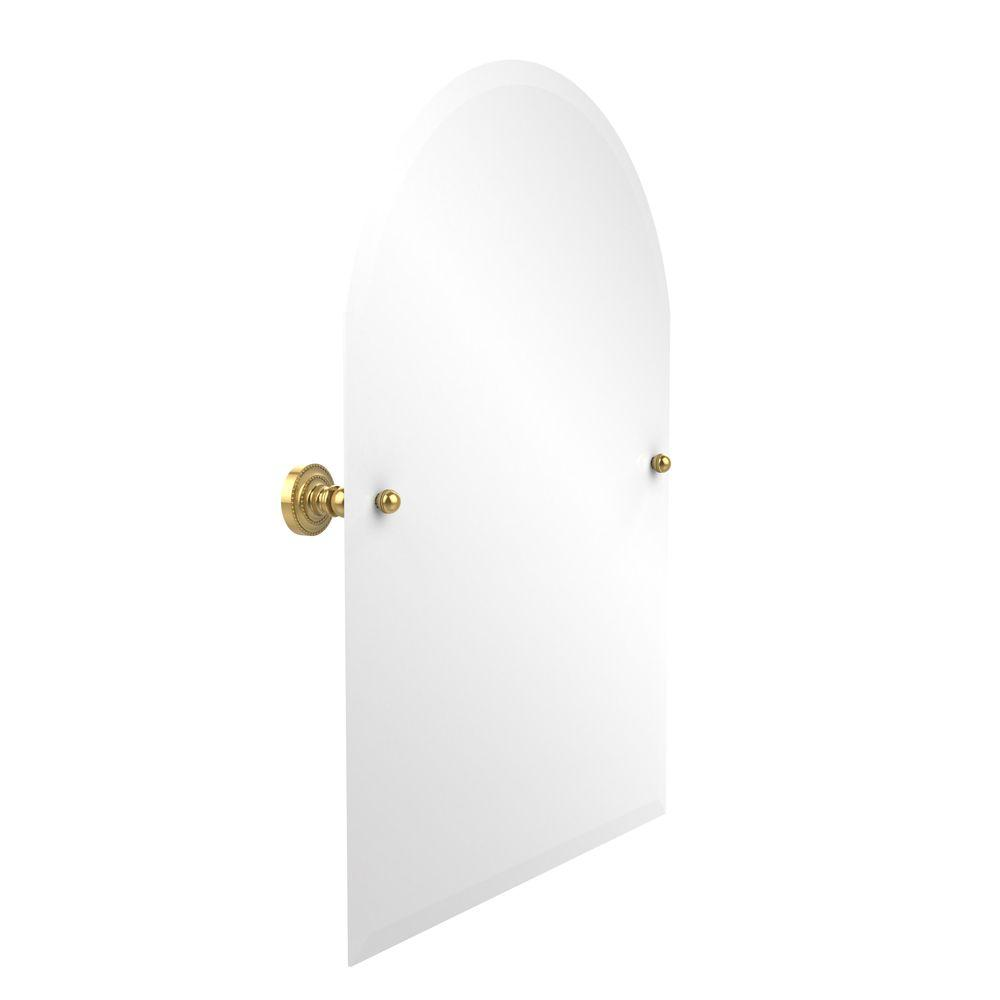 Allied Brass Dottingham Collection 21 in. x 29 in. Frameless Arched Top Single Tilt Mirror with Beveled Edge in Polished Brass