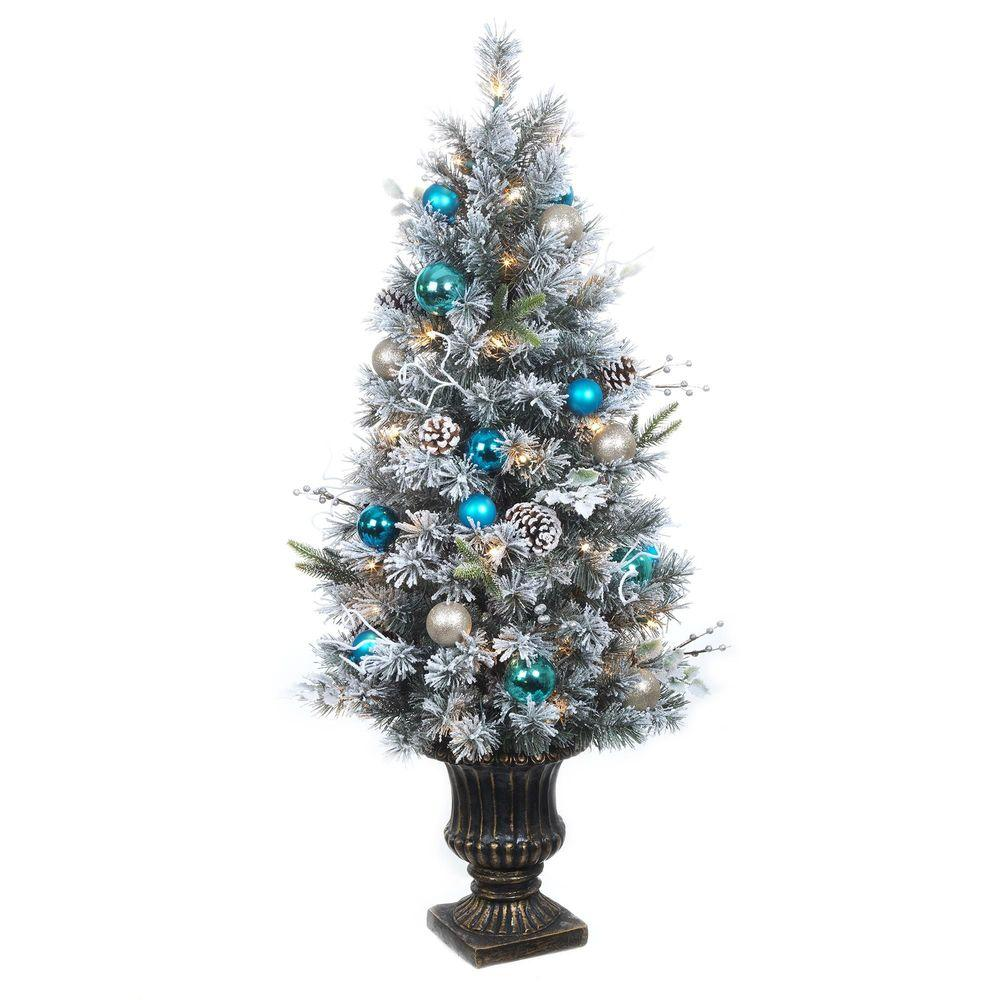 Home Accents Holiday 4 ft. Pre-Lit Flocked Pine Porch Artificial Tree with 50 Clear UL Twinkle Lights