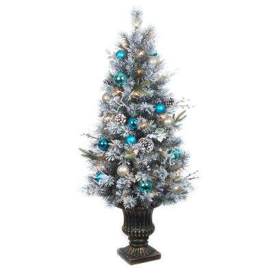 4 ft pre lit flocked pine porch artificial tree with 50 clear ul twinkle - Topiary Christmas Decorations