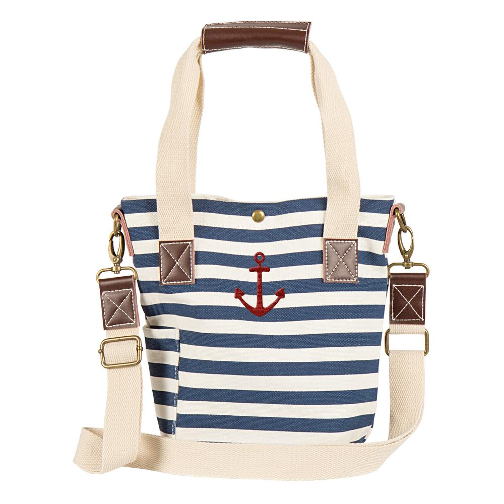 Anchor Navy Stripe Canvas Wine Tote