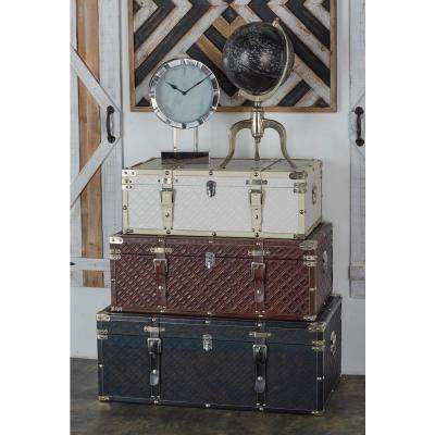 Rectangular Wood and Leather Storage Trunks (Set of 3)