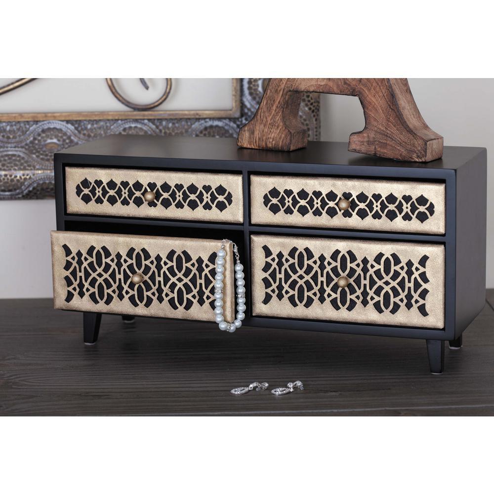 15 in. x 7 in. 4-Drawer Wooden Lattice Jewelry Box