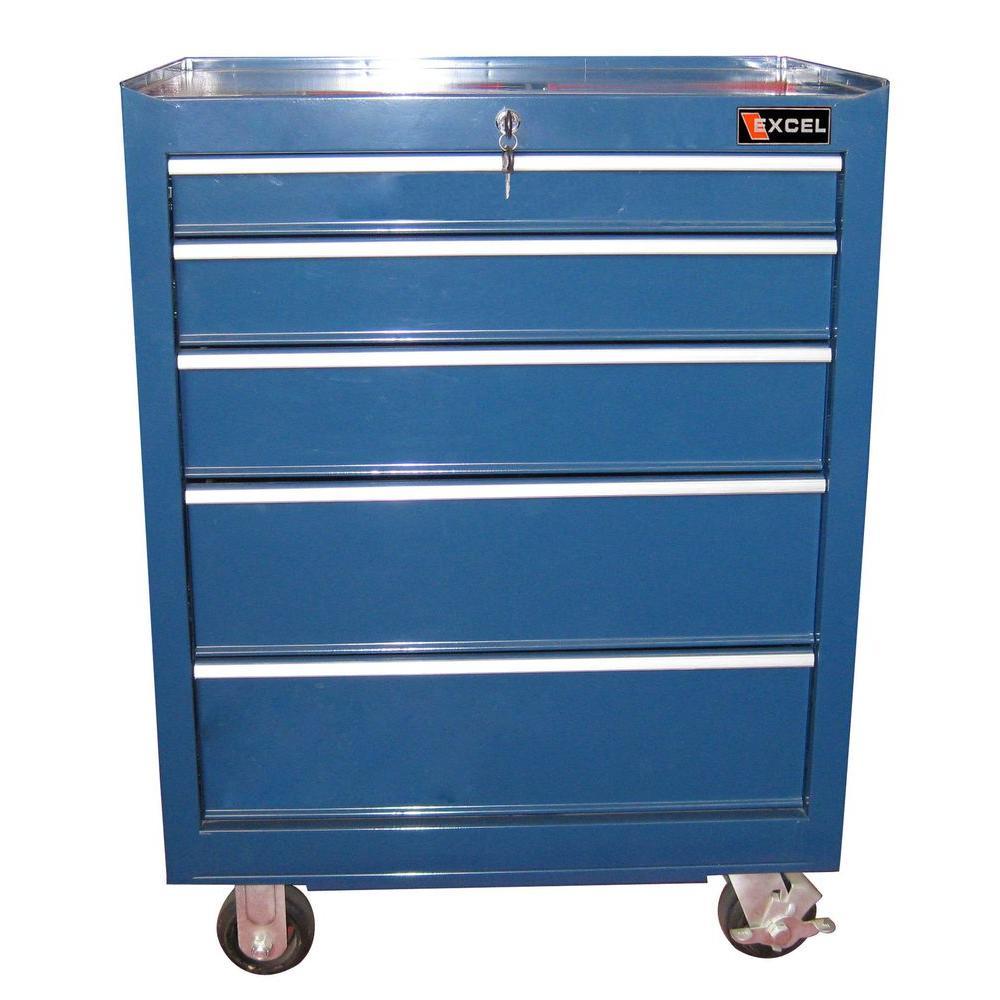 26.6 in. W 18.1 in. D x 36.3 in. H Steel Roller Cabinet, Blue