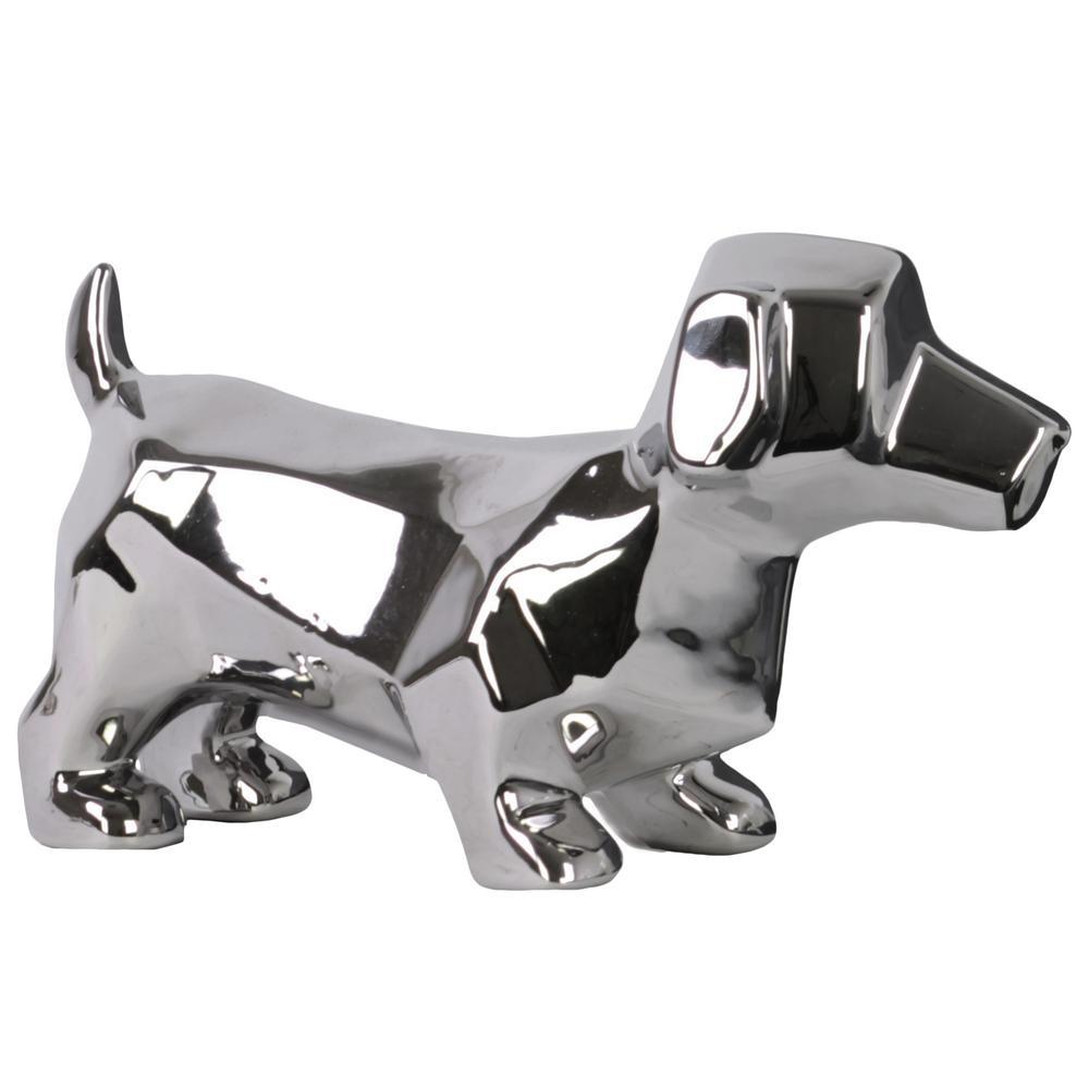 5.75 in. H Figurine Decorative Sculpture in Silver Polished Chrome