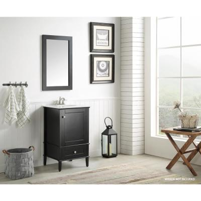 Alexander 21 in. W x 34.4 in. H Bath Vanity in Rich Black with Stone Vanity Top in White with White Basin