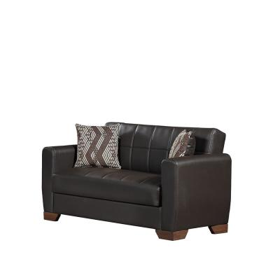 Barato 59 in. Brown Faux Leather 2-Seater Convertible Loveseat with Storage