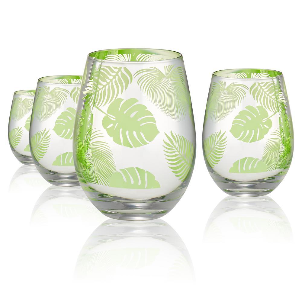 Tropical Leaves 16 oz. 4-Piece Stemless Glass Set