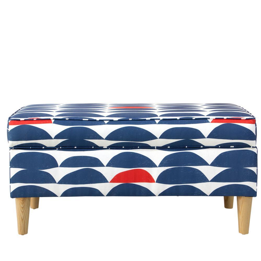 Sensational Skyline Furniture Blair Halfmoon Navy Red Storage Bench Spiritservingveterans Wood Chair Design Ideas Spiritservingveteransorg