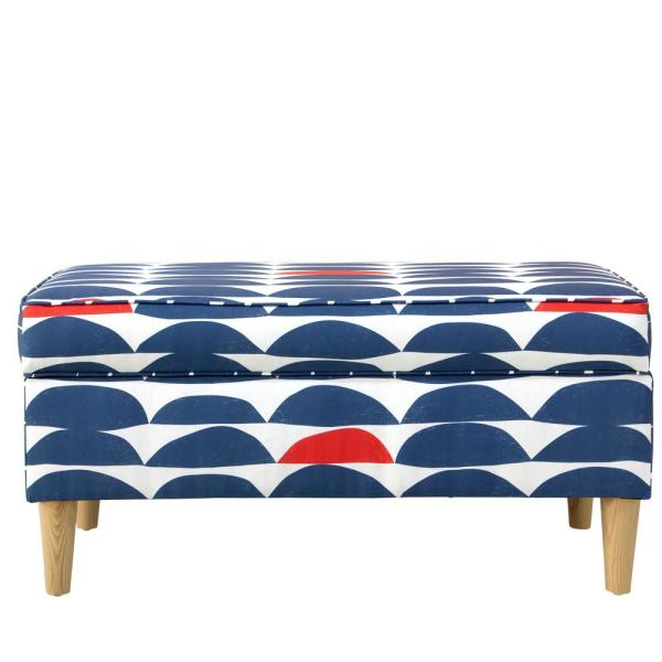 Skyline Furniture Halfmoon Navy Red Storage Bench