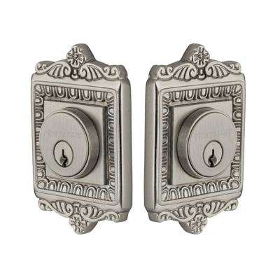 Egg and Dart Plate 2-3/4 in. Satin Nickel Backset Double Cylinder Deadbolt