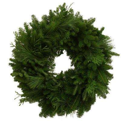 24 in. Mixed Greens Fresh Wreath : Multiple Ship Weeks Available