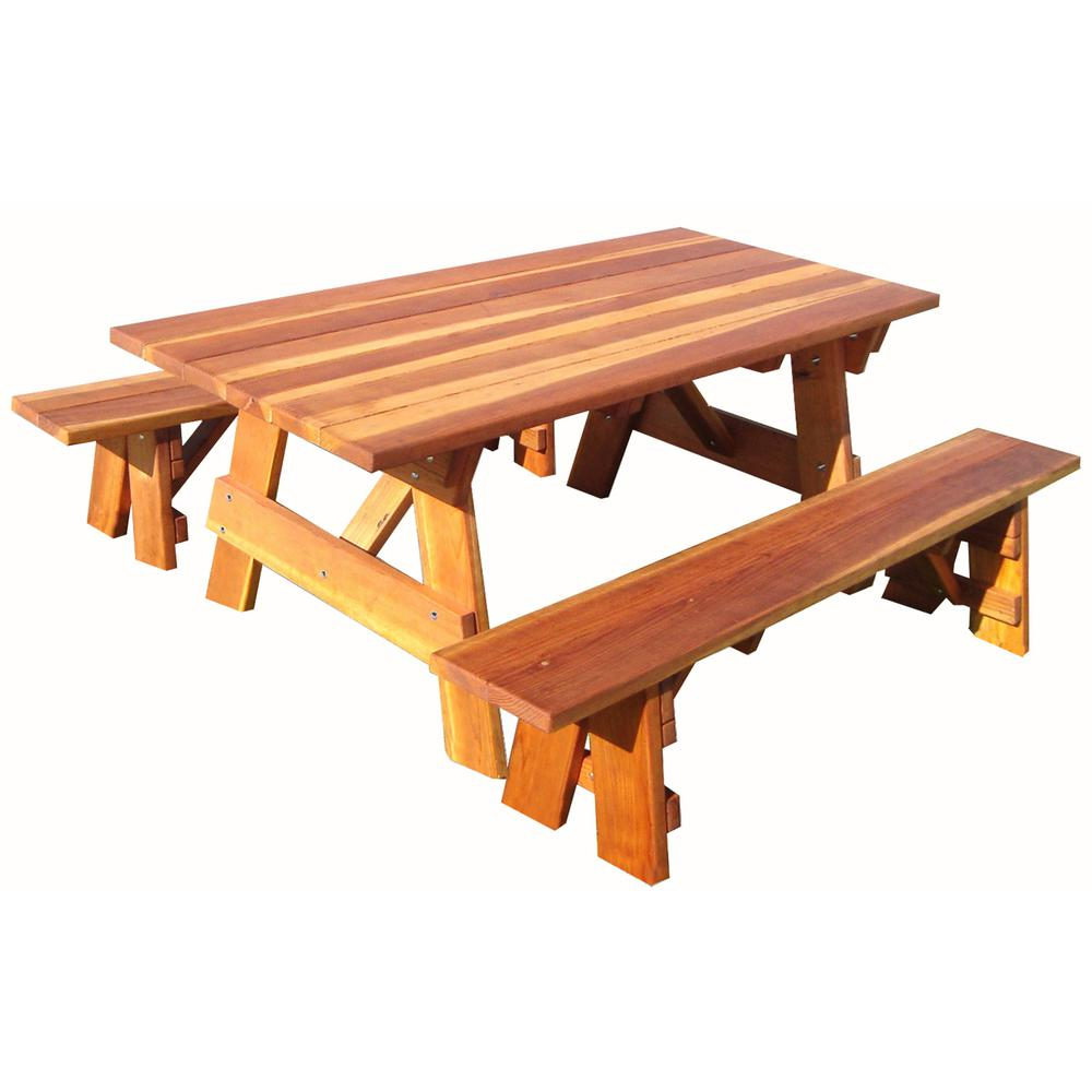Outdoor 1905 Super Deck Finished 6 Ft Redwood Picnic Table With Separate Benches