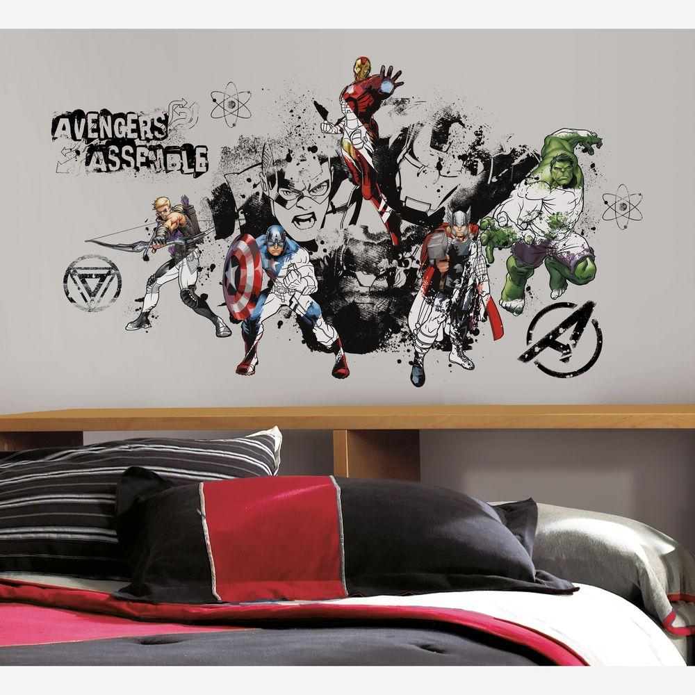 null 2.5 in. x 27 in. Avengers Assemble Black and White Graphic Peel and Stick 8-Piece Wall Decals