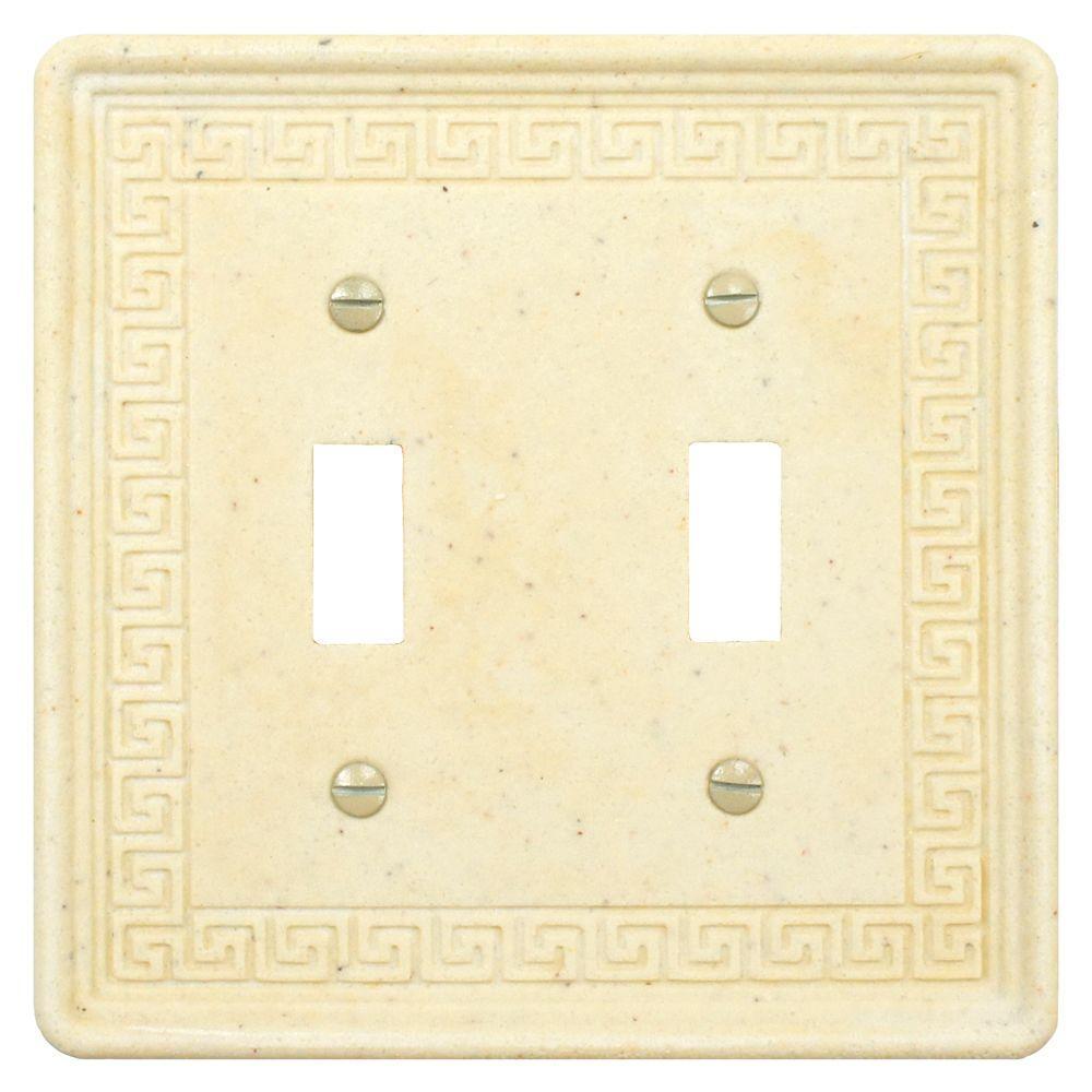 Merola Tile Contempo Greek Key 2 Toggle Wall Plate - Light Travertine