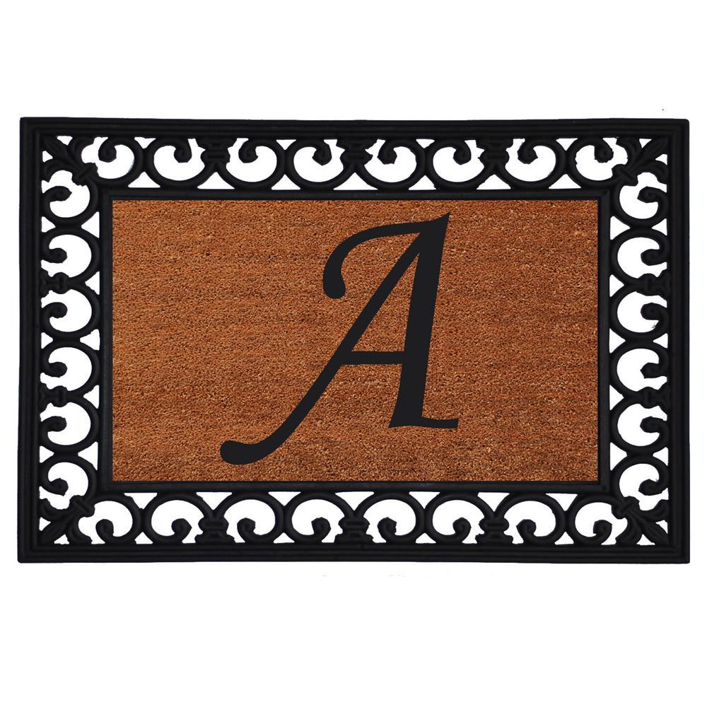 Monogram Insert Door Mat 19 in. x 25 in. (Letter A), Multi